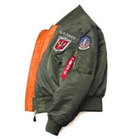 klasik askeri ceket erkekler toptan satış-Kış Vintage Top Gun Streetwear Hip Hop Askeri Mont Giyim Letterman Punk Bombacı Uçuş Hava Kuvvetleri Pilotu Ceket Erkekler Boyutu 2XS-2XL