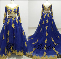 ingrosso gonna blu 12-2019 nuovo arrivo New Royal Blue Sweetheart Ball Gown Prom Dresses In rilievo Ricami Ruffles Gonna Principessa Abiti Da Ballo Lungo Custom Made