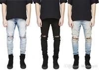 jeans desgastados de rodilla al por mayor-Diseñador Slim Fit Ripped Jeans Hombres Hi-Street para hombre Denim envejecido Joggers Agujeros de la rodilla Jeans destruidos lavados Talla grande envío gratis