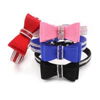 ingrosso colletto di bowtie-Collana in morbido collare in pelle regolabile con colletto per cani e collari a forma di strass bowtie per cani di taglia piccola