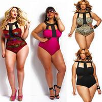 yağlı tek parça mayo toptan satış-Tek Parça Mayo Kadın Mayo Sıcak Yaz Plaj Yastıklı Yağ Bodysuit Lady Için Yüksek Waisted Mayo Yüzmek Aşınma 4XL
