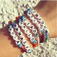abalorios bohemio al por mayor-Hello Letter Beads Bracelets 6 Country Language Handmade Colorful Strand Charm Bracelet Bohemian Beach Acrylic Women Bangle Pulserias Jewelry