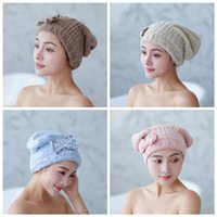 Wholesale spa shower bath towel wraps for sale - Group buy Bath Spa Bowknot Wrap Towel Hair Drying Thicken Soft Shower Cap Hat Absorbent Turban Head Wrap Bathing Tools Rapid Drying