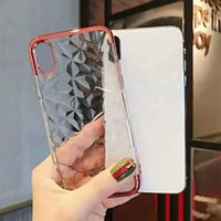 Wholesale frame iphone design for sale - Group buy Electroplated Diamond Design Case Clear Soft TPU Back Cover Plating Frame for iPhone XS MAX X Plus with OPP Bag