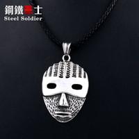 pingentes máscara venda por atacado-Soldado de aço feio Jason Mask Hóquei pingente de colar de Aço Inoxidável do Dia Das Bruxas Biker antique popular jóias