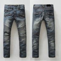 kovboy kot delikleri toptan satış-Yeni Yüksek Kaliteli Moto motorcu Kot pantolon Mavi Kovboy kot pantolon Erkek Moda Casual Boş Yıkanmış İnce Skinny Delikler Jeans