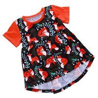 Wholesale cartoon clothes korean online - Girl Dresses Printed Maternity Polyester Kids Clothing Korean Version Cartoon Short Sleeve Round Neck Princess Dress