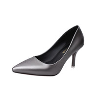 b6cf6e480d4d 2019 Dress 2018 new women s shoes Korean version of the pointed professional  work shoes ladies gray sexy high heels