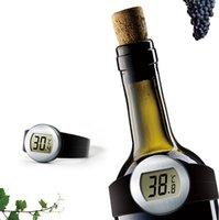 relógios vermelhos lcd digital venda por atacado-Frasco eletrônico Termômetro LCD Garrafa de Vinho Tinto Termômetro Digital Wine Relógio Automático Temperatura Medidor de Vinho Ferramentas