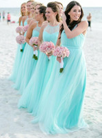 Wholesale turquoise bridesmaids dresses for sale - Group buy 2019 Fashion Light Turquoise spaghetti Bridesmaids Dresses Plus size Beach Tulle Cheap Wedding Guest Party Dress Long Pleated Evening Gowns