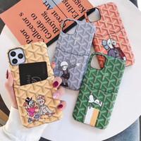 nouveaux modèles de cas de téléphone achat en gros de-New Hot modèles de mode de luxe en cuir coloré Grille de téléphone de couverture pour iPhone 11 Pro Max avec carte de crédit Soft Case