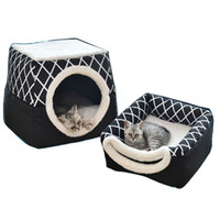 Wholesale tents sleep resale online - Cat Bed Foldable Winter Soft Warm Tent Washable Puppy cat Sleeping Bag Basket Mat Plaid House Kennel Cat Supplies