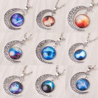 galaxie raum halskette großhandel-2019 New Vintage starry Mond Weltraum Universum Mode Vintage Galaxy Edelstein Anhänger Halsketten Mix Modelle