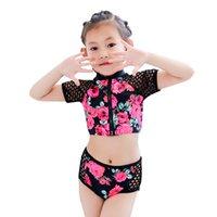 ingrosso tre bikini ragazze-2019 New baby costume da bagno Toddler Kid Neonate tre piselli manica corta Floral Pool Beach Costumi da bagno Tute Bikini Sets 5.28