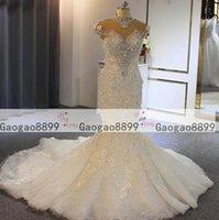 3d çiçekler toptan satış-3d çiçek Dantel Aplike yüksek boyun Boncuklu Kristalleri muhteşem düğün Gelin Modelleri vestidos de novia ile 2020 lüks Denizkızı Gelinlik