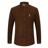 camisa de pana para hombre l al por mayor-Camisa de pana de manga larga de algodón de manga larga con corte clásico, para hombres, camisa de vestir bordada clásica para hombre 6001