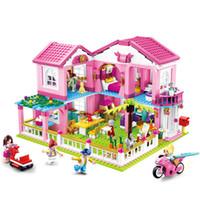 kutu dollhouse toptan satış-DIY Bebek Evi Minyatür Küçük Odası Kutusu Dollhouse Ev Villa Bahçe Modeli Yapı Taşı Tuğla Oyuncak Çocuk Oğlan Kız için