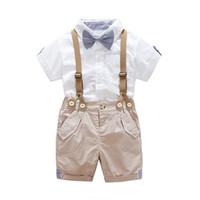 terno formal do bebê menino verão venda por atacado-2019 Roupa Dos Miúdos Do Bebê Meninos Crianças Criança Camisa Cintas 2 Pcs / set Calças Roupas Roupas de Verão Infantil Lazer Cavalheiro Terno