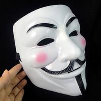 mascarada fiesta moda mascara al por mayor-White V Vendetta Mask Fashion Guy PVC Anónimo Halloween Horror Cosplay Disfraz Masquerade Mask Party Supplies TTA1753