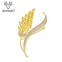 Wholesale leaf brooch pins gold resale online - Viennois Leaf Crawler Pin Brooch Fashion Jewelry Gold Color Zircon For Women