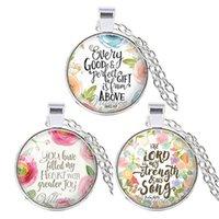 colares de citações venda por atacado-3 Pcs / Lot Colar Moda Bible Verses vidro Dome Pendant citações da escritura colares Para Jóias Presentes Fé Cristã