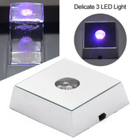 3 LEDs Luminous Base Light Crystal Glass Transparent Objects Display Colorful Square Crystal Figurine Display Stand Base