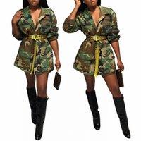 casacos de senhora venda por atacado-Oversized Jacket Casual Brasão Mini Vestido Autumn Ladies Plus Size Mulheres Cool Camouflage Party