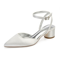 düşük topuklu gece ayakkabıları toptan satış-OnnPnnQ Düşük Topuklu Saten Kadın Ayakkabı Sivri Burun Topuklu Ayak Bileği Toka Askı Balo Akşam Düğün Parti Kadın Elbise Pompaları