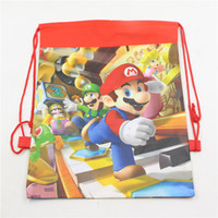 Wholesale kids birthday party backpack for sale - Group buy small super mario bros theme birthday party gifts non woven drawstring goodie bags kids favor swimming school backpacks