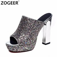 черное золото тапочки толщиной оптовых-2018 New Sexy Thick High Heel Women Slippers  Sequined Platform Summer Shoes Woman Flip Flops Black White gold silver