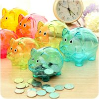 Wholesale Transparent pig Plastic Money Saving Box cute Coins case Cartoon Pig shaped Bank colorful types kids ceartive birthday gifts QQA226