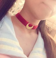 Wholesale sailor ribbon for sale - Group buy 2018 New Fashion Anime Sailor Moon Choker Necklace Tsuking Usagi Red Ribbon Moon Pendant Cosplay Chocker Necklace For Women Girl
