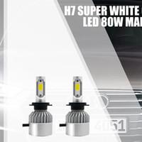 ingrosso luce di mini dimensioni ha condotto-2PCS Auto Lampadine faro Kit Mini Size H7 LED Car Light 6000K 8000LM Super Bright COB Chip Automobiles Lampadina del faro