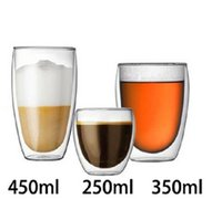 Wholesale double wall heat resistant glasses resale online - Handmade Heat Resistant Double Wall Glass Tea Drink Cup Insulated Clear Glass Beer Tea Mugs Drinkware Gift ML