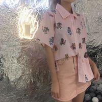 camiseta mulher marinheiro venda por atacado-Sailor Moon Rosa Camisas de Manga Curta Harajuku T Camisa Roupas Femininas 2019 Cosplay Bonito Kawaii Tops Gola Curta Dos Desenhos Animados Tshirt