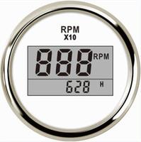gabarit tactile de 52 mm achat en gros de-Pack de 1 jauges de tachymètre numérique à rétroéclairage bleu Tachymètres LCD Tach LCD 52mm avec compteurs horaires 9-32vdc pour bateau camion de voiture