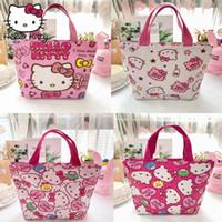 kızlar el çantaları yeni stil toptan satış-Hello Kitty Yeni Stil Kadın Karikatür Çanta El Yapımı El Çantaları Güzel Kızlar Alışveriş Çantası Karikatür PU Taşınabilir Peluş Sırt Çantası Seyahat