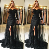 Wholesale arts swans for sale - Group buy Black Swan Long Sleeves Formal Evening Dresses Off The Shoulder Mermaid Split Side Prom Gowns With Wraps
