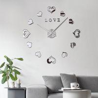 luminova watches بالجملة-الحب القلب ساعة الحائط الساعات الساعات الكوارتز تصميم الأزياء الحديثة الساعات luminova 3d الحقيقي الكبير هرع مرآة ملصقا diy