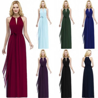 Wholesale customized sashes resale online - In Stock Burgundy Chiffon Bridesmaid Dresses Floor Length Pleats Evening Prom Gowns Sexy Halter Neck with Sash CPS868