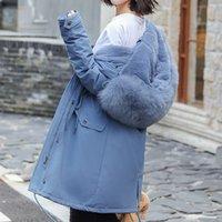 mulheres casaco jaqueta dupla venda por atacado-Winter Jacket Mulheres capa da pele 2019 Inverno X-Long ambos os lados usar casaco Parka Grosso Duplo Quente Collar Big Fur Parka com capuz Jacket