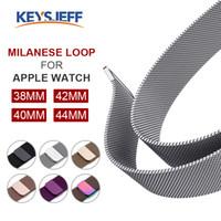magnetschlaufe apfel uhrenarmband großhandel-Milanese Loop Band für Apple Watch Series 4/3/2/1 Ersatz-iWatch-Armbandbänder Magnetisches Edelstahl-Armband LM82001