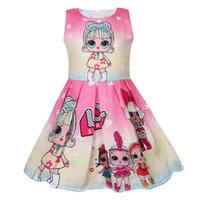 vestido caliente llevar chicas al por mayor-Niños diseñador de ropa Sorpresa niñas princesa vestido sin mangas de dibujos animados vestidos de verano rendimiento brithday fiesta vistiendo faldas caliente C3153