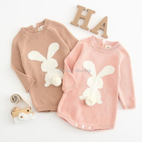 d3995652e30e Easter Baby girls boys Rabbit Tail Romper infant Long Sleeve Bunny  Jumpsuits 2019 Spring Autumn fashion Boutique kids Climbing clothes C5944
