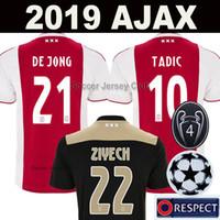 xxl 18 großhandel-18 19 AJAX FC Fußballtrikot DE JONG TADIC DE LIGT ZIYECH VAN BEEK NERES DOLBERG MEN KIDS Top-Qualität für Thailand soccer jersey 2018 2019 Niederlande Ajax Champions Fußball-Trikot