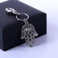 ingrosso doni fortunati borse-HYS10 Moda regalo creativo Ciondolo chiave Tour portachiavi regalo Hamasa Mano e Evil Eye Portachiavi per auto Lucky Keydrop