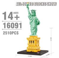 statue de maison achat en gros de-Balody New York Statue De La Liberté Diamant Blocs Architecture Statue Maison Blanche Modélisme Kits de Construction Ville Creator Monde Jouets