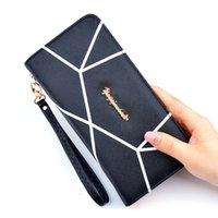 женские кошельки для женщин оптовых- Geometric Long Wallets Women Ladies Fashion Women Zipper Wallet Hand Bag Clutches Coin Pocket Carteira Feminina