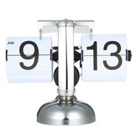 equipo de escalas al por mayor-Tabla pequeña escala Reloj tirón retro sobre el reloj de acero inoxidable flip engranaje interno de cuarzo escritorio del hogar decoración de la tabla