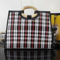 Wholesale new straw handbags resale online - designer luxury handbags purses women bags new style high quality manual knitting series crochet check bamboo handle open handbags